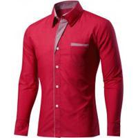 66b4fd8bc1 Camisa Masculina Slim Fit Com Detalhes Listrados Manga Longa - Vermelho  Escuro