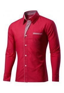Camisa Masculina Slim Fit Com Detalhes Listrados Manga Longa - Vermelho Escuro