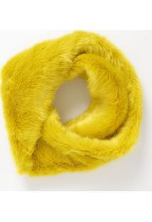 Echarpe Em Pelúcia Com Torção- Amarela- 102X21Cmcotton Colors Extra