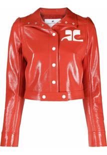 Courrèges Jaqueta Cropped Com Patch De Logo - Vermelho