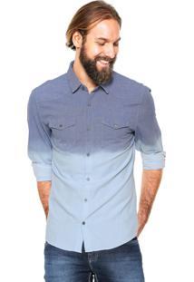 Camisa Calvin Klein Jeans Reta Degradê Azul