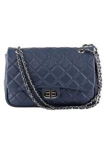 Bolsa Feminina Mayon 5227 Com Fecho E Corrente Couro Azul