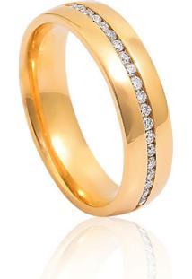 Aliança De Ouro 18K Anatômica Abaulada Com Diamante (4,80Mm)