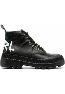Karl Lagerfeld Ankle Boot Com Cadarço - Preto