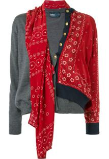 Kolor Asymmetric Contrast Detail Cardigan - Vermelho