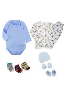 Kit Enxoval Bebê 9 Pçs Body Conjunto Pijama E Acessório Bebê Azul