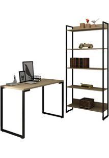Conjunto Escritório Mesa Escrivaninha 120Cm E Estante 5 Prateleiras Es