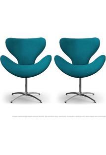 Kit De 02 Cadeiras Decorativas Poltronas Egg Azul Turquesa Com Base Giratória
