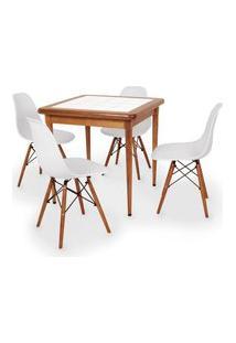 Conjunto Mesa De Jantar Em Madeira Imbuia Com Azulejo + 4 Cadeiras Eames Eiffel - Branco