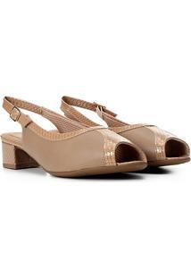 Peep Toe Piccadilly Chanel Recortes Salto Baixo - Feminino-Areia