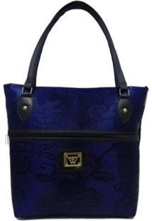 Bolsa Detalhes Via Luna Flores Feminina - Feminino-Azul