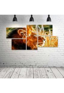Quadro Decorativo - King-Lion-Neon - Composto De 5 Quadros