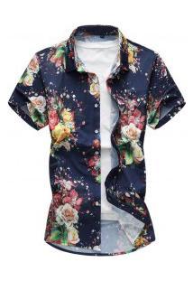 Camisa Masculina Estampa Floral - Azul Escuro