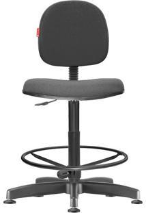 Cadeira Caixa Alta Executiva Giratória Crepe Cinza Escuro
