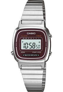 Relógio La670Wa-4Df Casio Prata/Roxo
