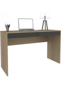 Escrivaninha Para Escritório 2 Gavetas Home Office Hecol Móveis Avelã/Onix