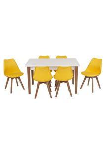 Conjunto Mesa De Jantar Luiza 135Cm Branca Com 6 Cadeiras Leda - Amarelo