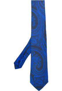 Etro Gravata Com Estampa Paisley - Azul