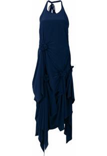 Jw Anderson Vestido Assimétrico De Seda - Azul