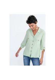 Camisa Manga 3/4 Lisa Com Bolsos E Botões | Marfinno | Verde | M