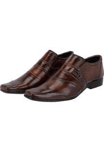 Sapato Social Masculino Em Couro Costura Transversal Leoppé Marrom