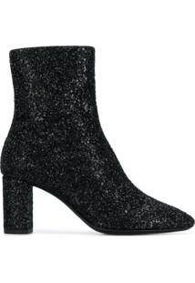 Saint Laurent Ankle Boot 'Glitter Sprinkled' De Couro - Preto