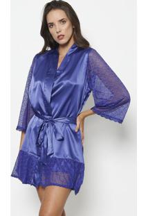 Robe Acetinado Com Renda- Azulfruit De La Passion