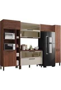 Cozinha Modulada Compacta 6 Peças Viv Concept C04 Nogueira/Off White -