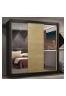 Guarda-Roupa Casal Madesa Lyon Plus 3 Portas De Correr Com Espelhos 4 Gavetas - Preto/Carvalho