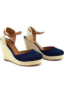 Sandália Emporionaka Anabela Jeans Feminina - Feminino-Azul