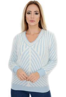 Blusa Pelinho Angorá Pirâmide Listras Confortável Azul E Branca Livora