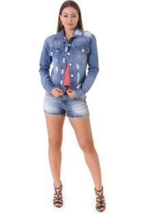 Jaqueta Jeans Opera Rock Destroyer Feminina - Feminino-Azul