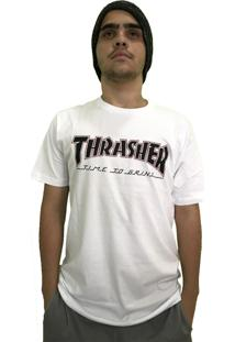 Camiseta Independent Collab Thrasher Time To Grind Branca