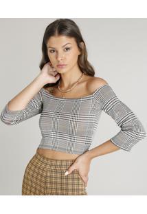 Blusa Feminina Cropped Ombro A Ombro Estampada Xadrez Bege Claro