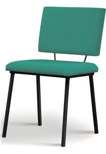 Cadeira Antonella Aco Preto Assento/Encosto Estofado Linho Azul Turquesa Daf