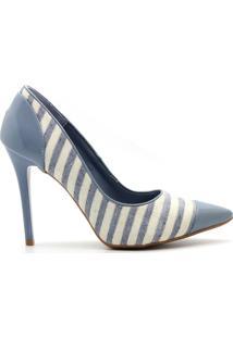 Scarpin Royalz Verniz Bico Salto Alto Fino Listrado - Feminino-Azul