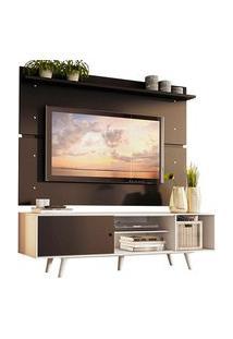 Rack Madesa Dubai E Painel Para Tv Até 65 Polegadas Com Pés Branco/Preto 7377 Preto