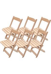Kit 6 Cadeiras Dobrável Madeira Natural Para Bar E Restaurante