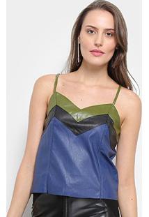 Blusa Alcinha Road Mel Feminina - Feminino-Azul+Preto