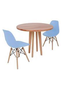 Conjunto Mesa De Jantar Em Madeira 90Cm Com Base Vértice + 2 Cadeiras Eiffel - Azul Claro