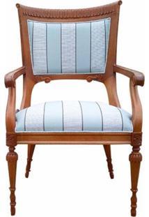 Cadeira Com Braço Luís Felipe Entalhada Madeira Maciça Design De Luxo Peça Artesanal