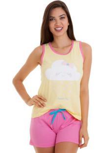 Pijama Short Doll Regata Estampa Nuvem Feminino Luna Cuore