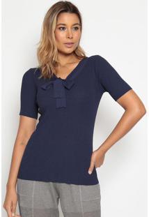 Blusa Canelada Com Amarração - Azul Marinho- Suzan Zsusan Zheng
