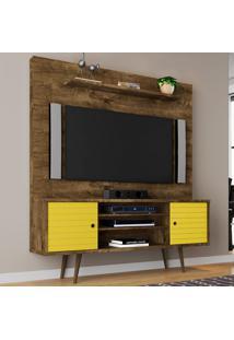 Estante Para Tv 2 Portas Tivoli Madeira Rústica/Amarelo - Móveis Bechara