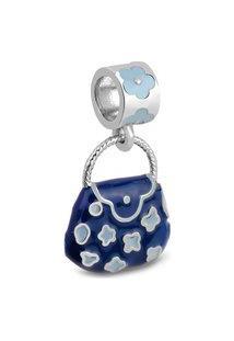 Pingente Life Bolsa Flores Azul Marinho E Azul Bebê
