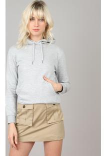 Blusão Feminino Em Moletom Básico Com Capuz E Bolso Canguru Cinza Mescla Claro