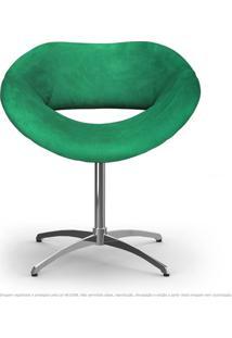 Cadeira Beijo Verde Poltrona Decorativa Com Base Giratória
