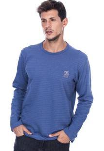 Camiseta Manga Longa Long Island Wdl Masculina - Masculino-Azul