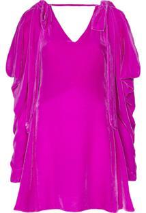 Les Rêveries Vestido De Veludo Com Laço - Rosa