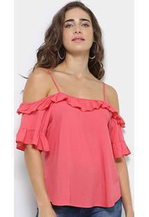 Blusa Royallove Open Shoulder Babado Feminina - Feminino-Coral